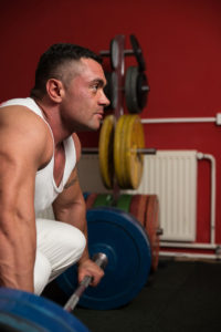 Man Nervously Preparing To Do Deadlift