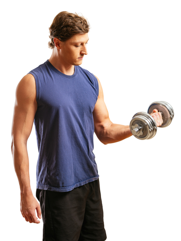 Man Doing Bicep Curls With Dumbbell