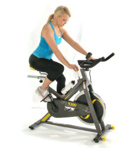 Woman Riding Stamina CPS 9300 Exercise Bike