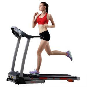 Woman Running On Sunny Health & Fitness Treadmill