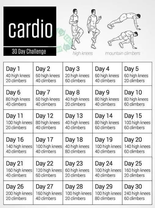 30 Day Cardio Challenge With High Knees And Mountain Climbers