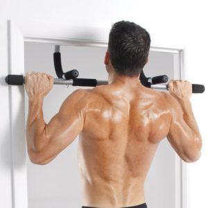 Man Using Iron Gym Workout Bar At Home
