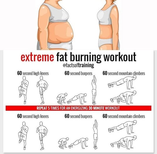 Extreme fat-burning workout with high knees, burpees and mountain climbers.