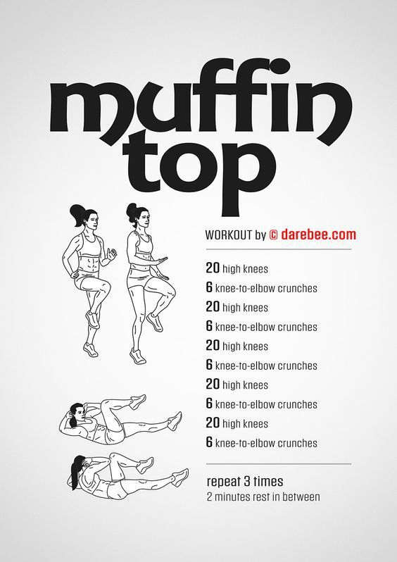 Muffin top workout with high knees and knee to elbow crunches.
