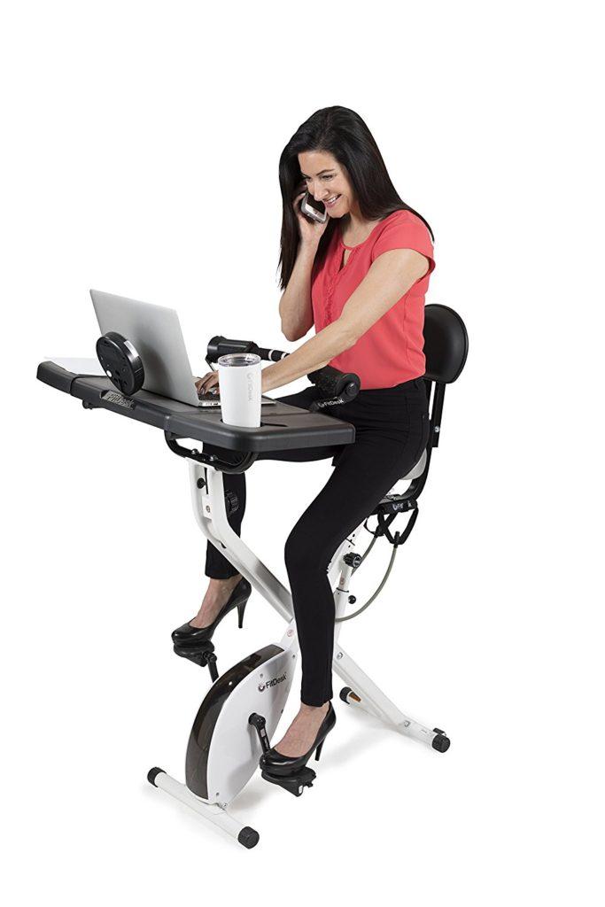 Woman Using Fitdesk 3 0 Bike